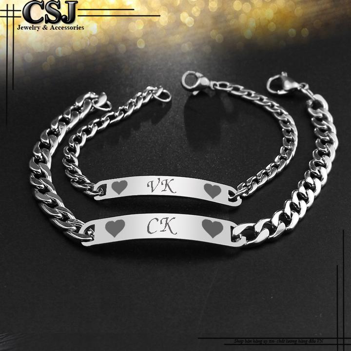 lắc tay cặp đôi inox CK VK đẹp giá rẻ