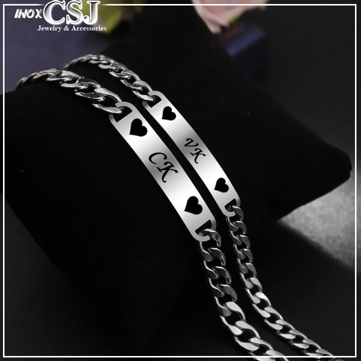 lắc vòng tay cặp đôi, vòng tay tính nhân inox OX BX đẹp ý nghĩa