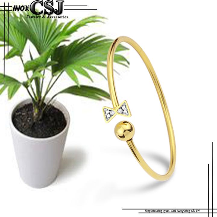 vòng tay nữ inox kiểu nơ bi mạ vàng