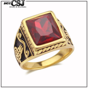 nhẫn nam inox nam mạ vàng, bán nhãn nam đá đỏ độc đẹp giá rẻ