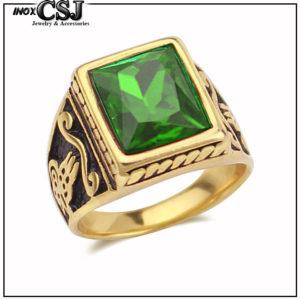 bán nhẫn nam inox mạ vàng, nhẫn nam đá xanh lá đẹp giá rẻ HCM phong cách Hàn quốc,