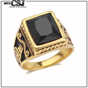 Nhẫn inox nam mạ vàng đá đen đẹp giá rẻ Hàn Quốc HCM CSJ