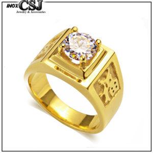 nhẫn inox nam mạ vàng chữ phước đính xoàn đẹp giá rẻ Hàn Quốc