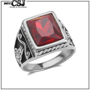 nhẫn inox nam đẹp độc đá đỏ phong cách đẹp giá rẻ CSJ