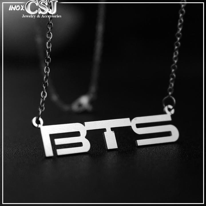 bán dây chuyền inox BTS đẹp giá rẻ, vòng cổ inox BTS nhóm kpop Hàn Quốc không đen,