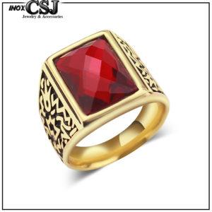 nhẫn nam inox mạ vàng đá đỏ đẹp cá tính giá rẻ