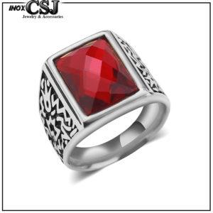 nhẫn nam inox đá đỏ đẹp giá rẻ phong cách Hàn quốc HCM CSJ