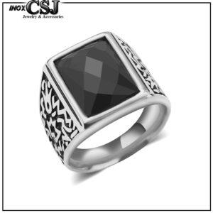 nhẫn inox nam đá đen đẹp phong cách Hàn Quốc độc giá rẻ HCM