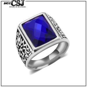 nhẫn nam inox đá xanh tim phong thủy may mắn đẹp giá rẻ