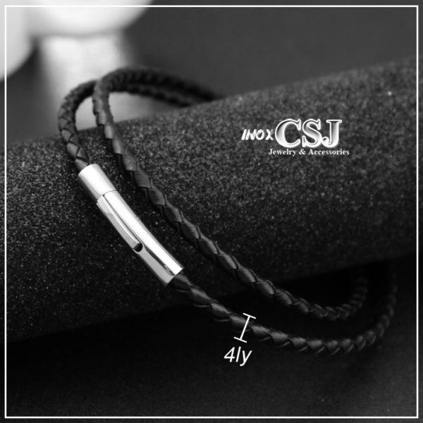 dây chuyền da màu đen dành cho nam với khóa inox không đen, vòng cổ nam màu đen giá rẻ,