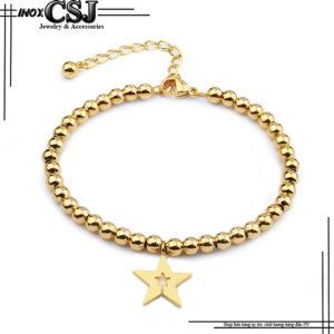 lắc tay nữ inox mạ vàng hình ngôi sao