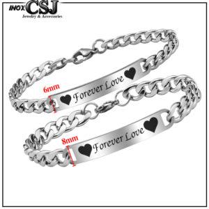 lắc vòng tay cặp đôi inox forever love đẹp ý nghĩa