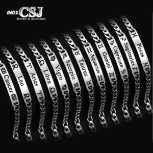CSJ bán vòng tay lắc tay inox 12 cung hoàng đạo đẹp chất lượng giá tốt, 12 chòm sao,