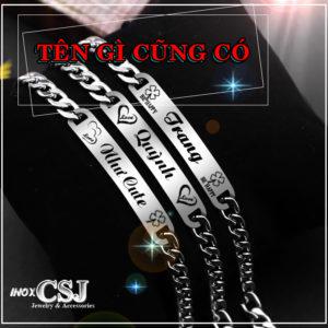 xưởng trang sức inox công sang chuyên bán vòng lắc tay inox tên độc cá tính đẹp giá tốt tại CSJ