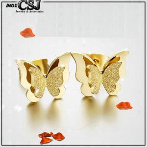 Bông tai titan con bướm phun cát màu vàng cực đẹp giá rẻ tại CSJ, CSJ chuyên bán sỉ bông tai nữ titan, bán sỉ hoa tai con bướm titan đẹp giá rẻ tại HCM,