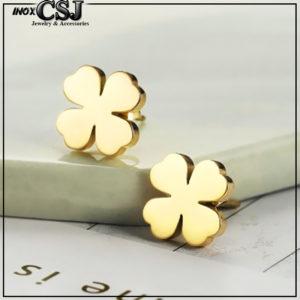CSJ nơi chuyên cung cấp bán bỏ sỉ Bông tai titan nữ cỏ 4 lá may mắn màu vàng tươi đẹp giá sỉ tốt nhất rẻ nhất HCM