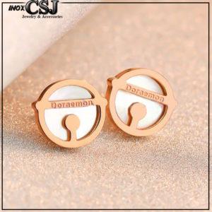 Công sang chuyên bán sỉ Bông tai tita9n doremon mạ vàng hồng đẹp giá rẻ nhất TPHCM