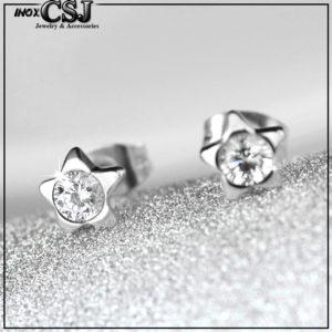 Bông tai titan ngôi sao đính đá cực xinh phong cách Hàn Quốc