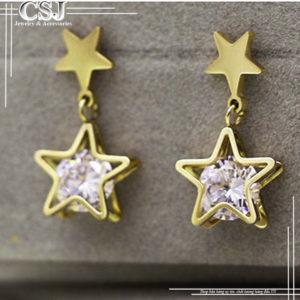 Bông tai titan ngôi sao mạ vàng đẹp giá rẻ nhất HCM tại CSJ
