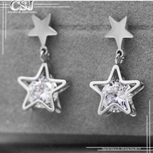 Bông tai titan ngôi sao màu trắng đẹp giá rẻ tại HCM
