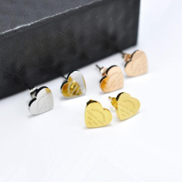 Bông tai titan trái tim mạ vàng 24k đẹp không đen vĩnh viễn