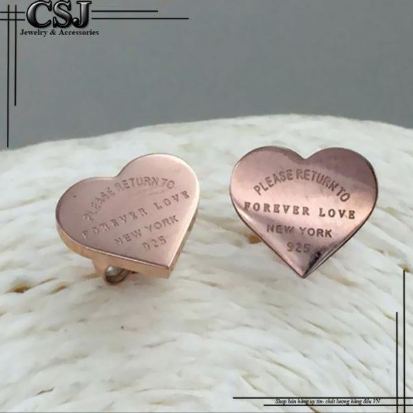 Bông tai titan trái tim mạ vàng hồng , hoa tai trái tim vàng hồng
