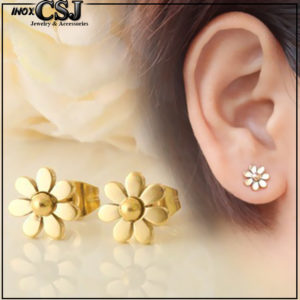 bán bỏ sỉ bông tai titan đẹp giá rẻ chất lượng nhất tại tphcm,Bông tai titan hoa cúc nhỏ xinh mạ vàng cực đẹp giá rẻ