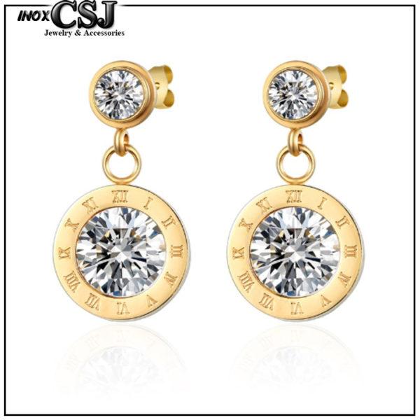 Bông tai titan số la mã mạ vàng phong cách thời trang Hàn quốc đẹp giá rẻ