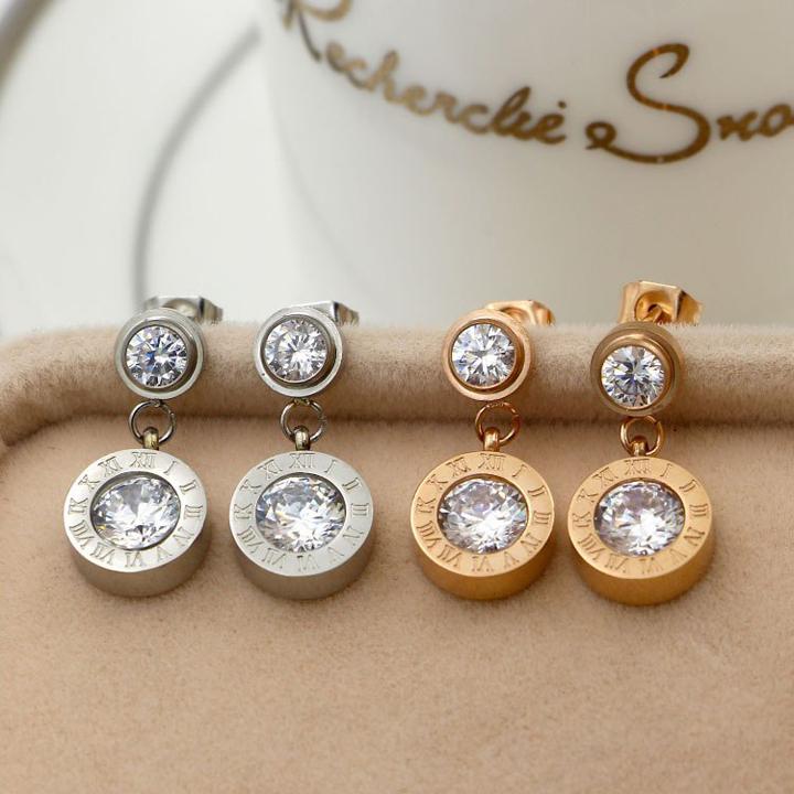 Bbông tai titan số la mã mạ vàng hồng thời trang Hàn Quốc
