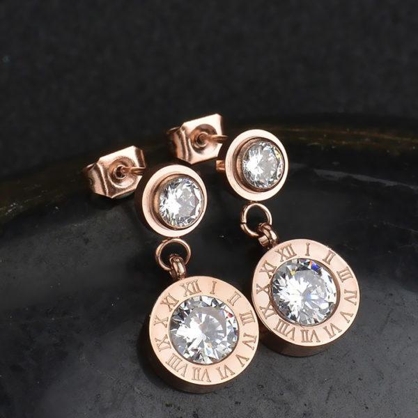 Bông tai titan số la mã mạ vàng hồng thời trang Hàn Quốc