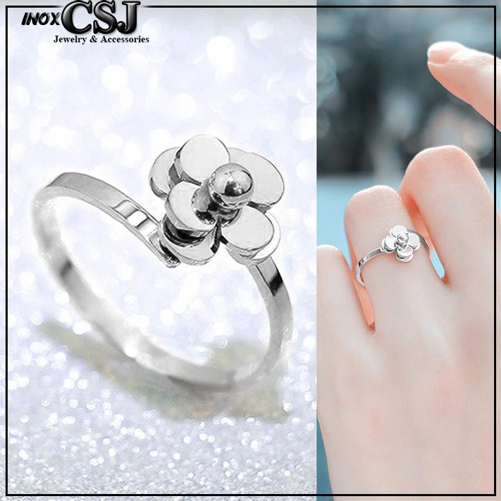 Nhẫn titan hoa trà free size màu trắng cực xinh giá rẻ thời trang Hàn Quốc