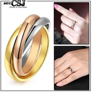 Công sang chuyên bán bỏ sỉ nhẫn titan thời trang Hàn Quốc,Nhẫn titan 3 chiếc 3 màu trắng vàng hồng,