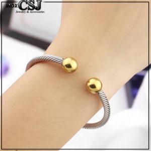 Vòng tay nữ dây cáp 2 đầu bi mạ vàng thời trang Hàn Quốc đẹp giá rẻ