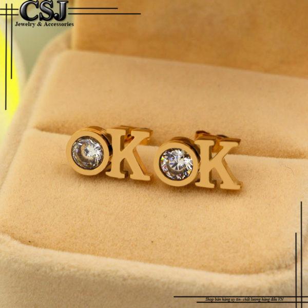 Bông tai titan chữ OK, bán sỉ bỏ sỉ hoa tai chữ OK mạ vàng hồng đẳng cấp phong cách Hàn Quốc HQ giá rẻ tại HCM Hà Nội
