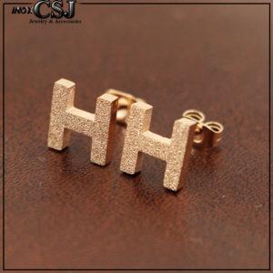 Bông tai titan chữ H thương hiệu Hermes mạ vàng hồng sang trọng đẳng cấp giá rẻ