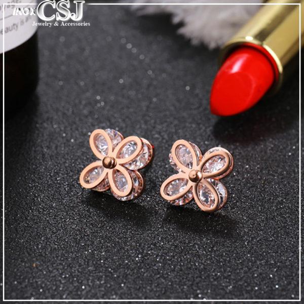 CSJ chuyên bán bỏ sỉ bông tai hoa mai titan mạ vàng ,Bông tai titan hoa mai 4 cánh kẹp đá cực xinh giá tốt tại shop Công Sang