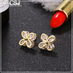 Trang sức titan CSJ chuyên bán sỉ Bông tai titan hoa mai mạ vàng đẹp giá rẻ, bong tai titan thời trang Hàn Quốc,