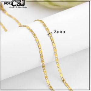 Dây chuyền inox mạ vàng kiểu dẹp 2mm phù hợp cả nam và nữ