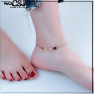 Lắc chân titan chữ love màu vàng hồng đẹp giá rẻ thời trang Hàn Quốc không đen