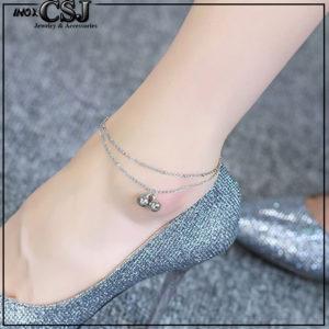 Lắc chân nữ titan 2 tầng chuông màu trắng xinh xắn thời trang HQ không đen vĩnh viễn