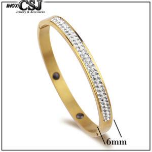 Vòng tay titan 2 hàng hoàn mạ vàng thời trang Hàn Quốc