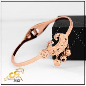 Vòng tay titan khánh đồng tiền may mắn thời trang Hàn Quốc mạ vàng hồng
