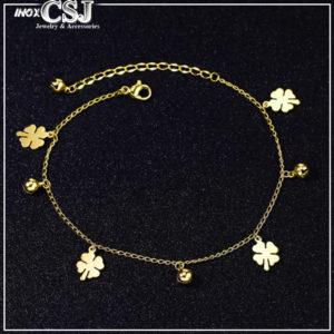 Lắc tay nữ titan cỏ 4 lá mạ vàng thời trang Hàn Quốc, lắc tay cỏ bốn lá,
