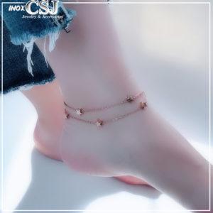Lắc chân nữ titan ngôi sao cách điệu 2 tầng màu vàng hồng cực xinh phong cách Hàn Quốc