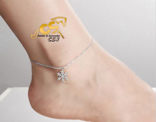 Lắc chân nữ titan hoa tuyết, bông tuyết phun cát thời trang HQ