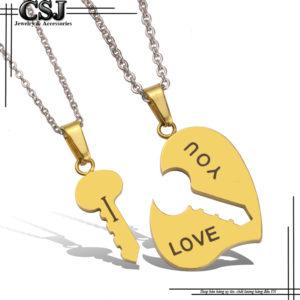 Dây chuyền inox cặp đôi trái tim chìa khóa mạ vàng đẹp không đen