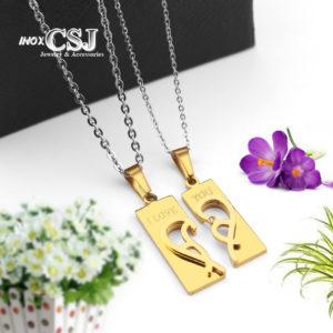 dây chuyền cặp đôi trái tim inox cao cấp không đen giá rẻ, dây chuyền mạ vàng