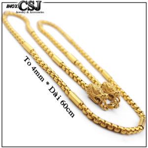 Dây chuyền nam inox đầu rồng mạ vàng, vòng cổ nam đầu rồng mạ vàng , bán bỏ sỉ dây chuyền vòng cổ thời trang Hàn Quốc mạ vàng