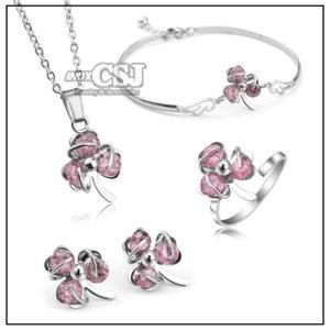 sét bộ trang sức inox 4 món hình cỏ ba lá may mắn màu hồng