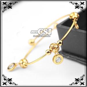 vòng tay nữ inox mạ vàng phụ kiện hình tròn